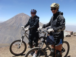 Mountain biking down Chacani mountain