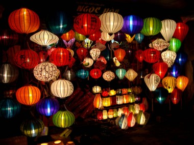 Lanterns aglow in Hoi An shops