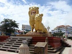 Lion statue in city center